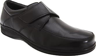 Roamers Mens Fuller Fitting Superlight Touch Fastening Leather Shoes (9 UK) (Black)