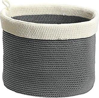 InterDesign Ellis Crochet Round Storage Bin for Towels, Blankets, Handbags, Clothing, Toys - Pack of 2, Large, Gray/Ivory