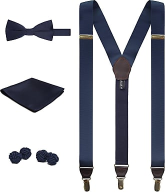 Jacob Alexander Matching Suspenders Handkerchief Cufflinks and Pre-Tied Bow Tie Set - Silver