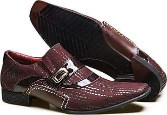Calvest Sapato Social em Couro com Textura NBP e Metal Dourado Calvest - 3260C982 Bordô - 42