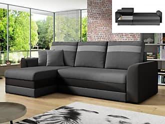 Venta-Unica.com Sofá-cama rinconero y reversible GIANY de tela - Antracita y bandas color gris claro