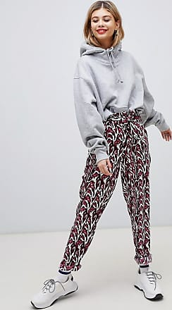 Noisy May Pantaloni stampati a vita alta con cintura-Bianco