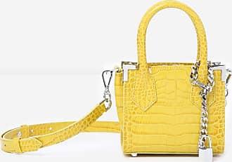 The Kooples Ming yellow crocodile-print nano bag - WOMEN