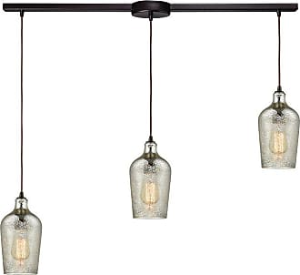 Elk Lighting 108 Hammered Glass 3 Light Staggered Linear Pendant Light Mercury - 10830/3L