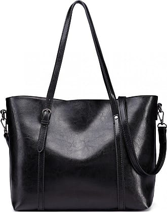 Quirk Trendy Womens Tote Bags Wax Leather Black