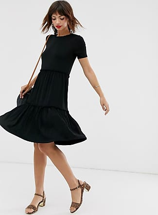 Warehouse tiered smock dress in black