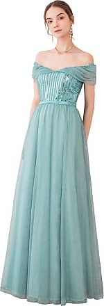 Ever-pretty Womens Off The Shoulder Elegant A Line Floor Length Long Tulle Ball Evening Dresses Dusty Blue 12UK