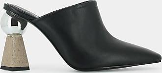 Mules pointues à talon géométrique , en cuir noir JONAK