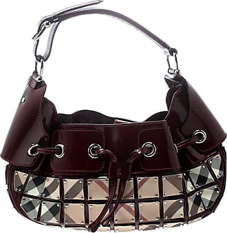 Burberry Patent Leather And Super Nova Check Mini Warrior Studded Hobo b1251155a9852