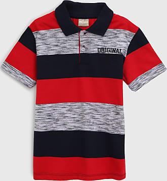 Milon Camisa Polo Milon Infantil Listrada Cinza/Azul-Marinho