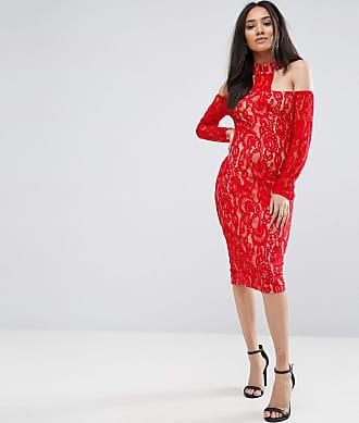Vestito midi pizzo rosso