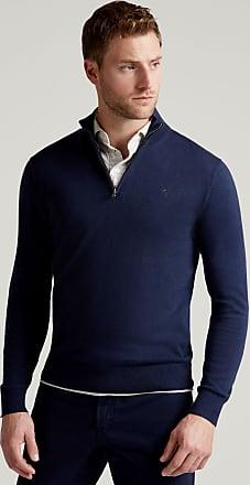 Hackett Mens Cotton-Silk Zip Jumper   Medium   Pale Grey