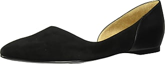 Naturalizer Womens Sammi Loafer Flat, Black Suede/Leather, 10 Narrow