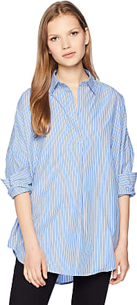 French Connection Womens Rhodes Polin Light Weight Long Sleeve Oversized Shirt, Blue/Multi, Medium