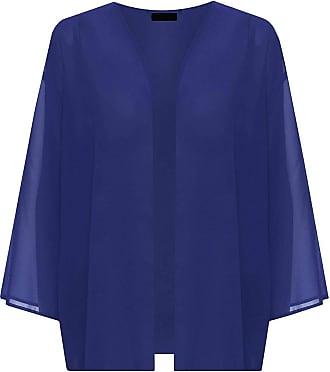 21Fashion Womens 3/4 Sleeve Plain Chiffon Cardigan Shrug Ladies Open Kimono Cardigan Top Royal Blue Medium UK 12-14