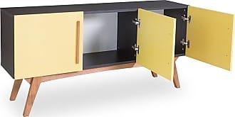 Odin Buffet Monclar com 3 Portas 135 cm Preto e AmareloPreto e Amarelo