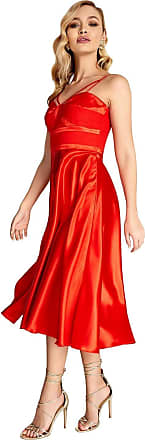 Little Mistress Lottie Strappy Satin Dress 14 UK Red
