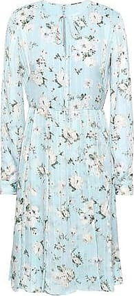 Mikael Aghal Mikael Aghal Woman Pleated Floral-print Crepe-satin Dress Sky Blue Size 10