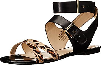 Nine West Womens DARCELLE Leather Dress Sandal, Black/Natural/Multi, 6.5 M US