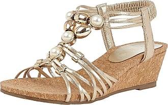 Lotus Amy Womens Slip On Wedge Shoes 3 UK Gold
