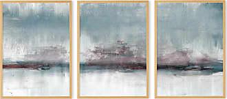 MADE.COM 3 x Abstract Haze Triptychon gerahmte Kunstdrucke (A3), kaltes Blau