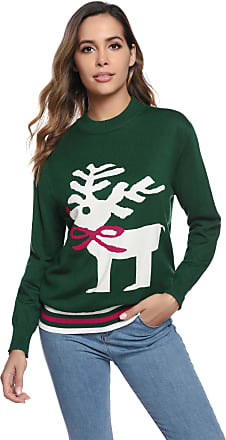 Aibrou Womens Christmas Jumper Long Sleeve Knitwear Christmas Deer Loose Knitted Sweater Pullover for Xmas Green