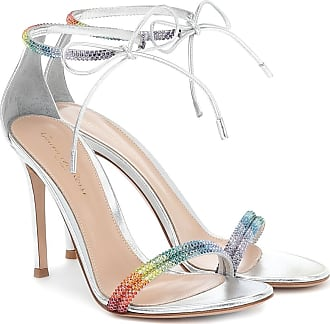 Gianvito Rossi Embellished metallic leather sandals