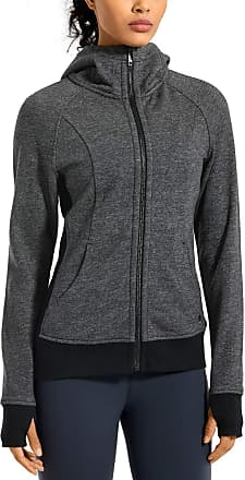 CRZ YOGA Womens Cotton Hoodies Sport Workout Full Zip Hooded Jackets Sweatshirt Heather Grey 10