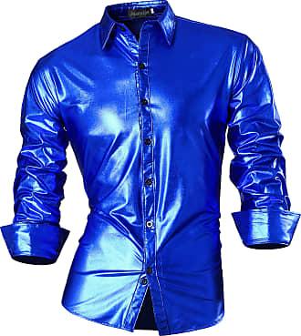 Jeansian Mens Fashion Bronzing Bling Shiny Slim Button Down Long Sleeves Dress Shirts Tops Z036 Oceanblue S