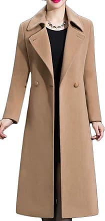 H&E Womens Autumn Winter Lapel Double Breasted Woolen Outwear Long Jacket Camel XS