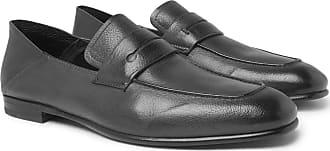 Ermenegildo Zegna Asola Collapsible-heel Textured-leather Penny Loafers - Dark gray