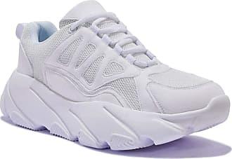 Truffle Vegan Womens Girls White Air Lace Up Chunky Max Fashion Trainers - Flash6 White - UK 6