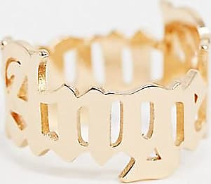 Asos Curve ASOS DESIGN Curve ring with angel gothic font in gold tone