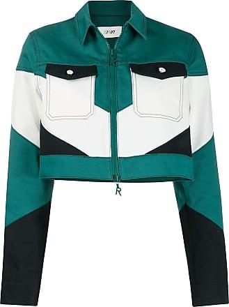 Kirin colour-block cropped jacket - Green