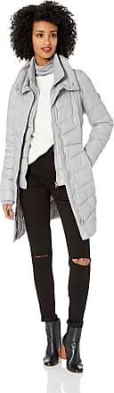Jessica Simpson Womens Fashion Puffer Jacket Down Alternative Coat, Nylon Silver/Grey, Medium