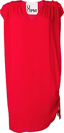 8pm pleated shoulder shift dress - Red