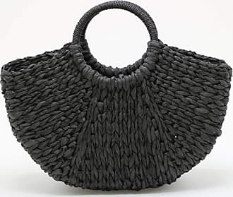YYW Straw Bag for Women Summer Handwoven Tote Bag Rattan Handbag Boho Style Clutches Shopping Basket for Beach Travel Daily Use (Black)