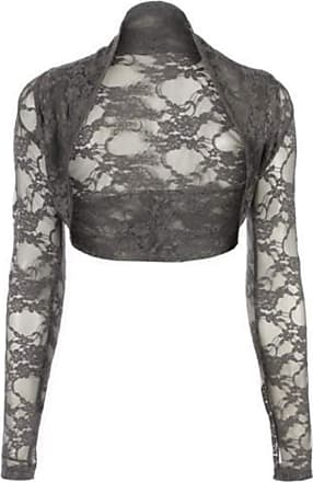 Top Fashion18 Womens Long Sleeve Lace Floral Ladies Cropped Short Shrug Bolero Cardigan Top 8-22 Charcoal