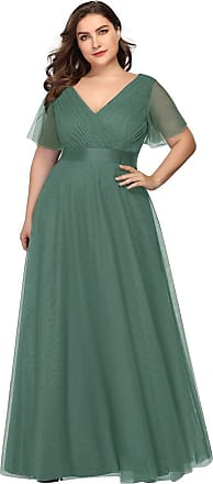 Ever-pretty Womens Elegant Double V Neck with Short Flutter Sleeve A Line Empire Waist Long Tulle Plus Size Prom Dresses Green 16UK