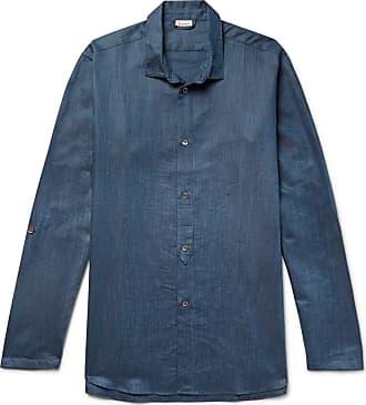 Zimmerli Mélange Linen And Cotton-blend Pyjama Shirt - Navy