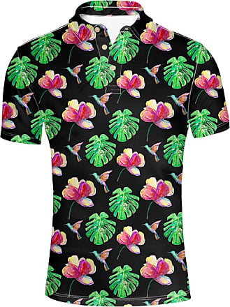 Hugs Idea Vintage Mens Classic Hibiscus Floral Sport Shirts Slim Fit Short Sleeves T-Shirt Tee Tops