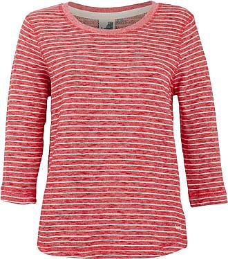 Weird Fish Simone Striped Crew Neck Fleece Sweatshirt Radical Red Size 10