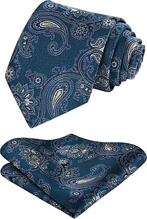 Hisdern Paisley Floral Wedding Party Tie Handkerchief Mens Necktie & Pocket Square Set Aqua/Yellow