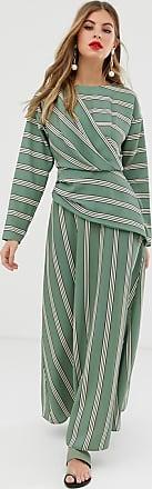 Asos wrap detail maxi dress in wide stripe-Multi