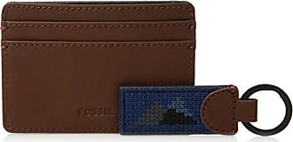 Fossil Mens Miles Card Case and Keyfob Gift Set Navy, One Size