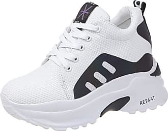 RAZAMAZA Women Casual Lace Up Trainers Wedge Heel Sneaker Pumps Flatform Round Toe Gym Shoes Walking White Size 35 Asian