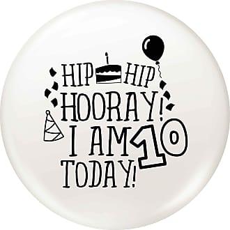 Flox Creative 77mm Pin Badge Hooray I am Ten Today