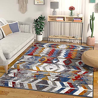 Well Woven Heritage Multi Red Blue & Yellow Modern Tribal High-Low Pile Area Rug 3x5 (311 x 53) Southwestern Stripes Geometric Carpet F