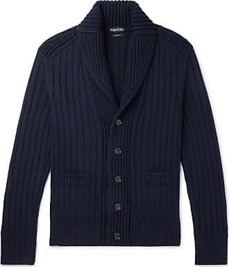 Tom Ford Shawl-collar Ribbed Merino Wool Cardigan - Navy