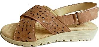 Cushion-Walk Womens Adjustable Velcro Back Strap Sandal in Peach/Pink - Rosa (Numeric_8)